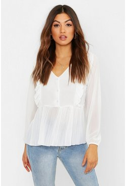 Womens Ivory Woven Ruffle & Pleated Blouse