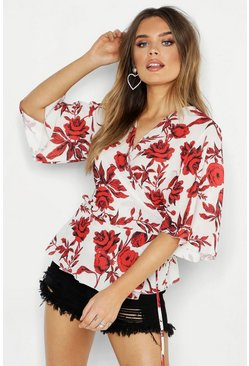 Womens Cream Woven Floral Wrap Blouse