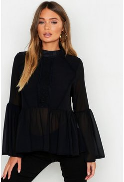Black Woven Crochet Detail Pep Hem Blouse