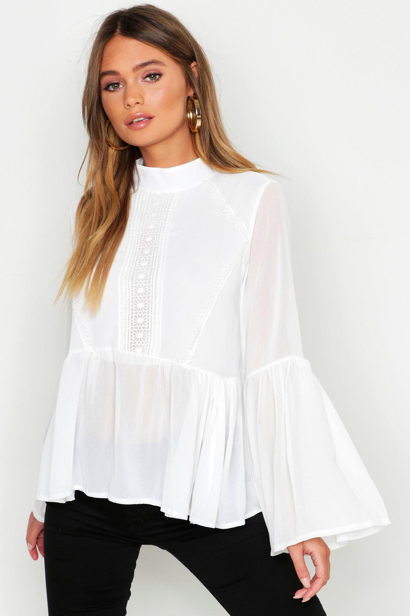Women's 70s Shirts, Blouses, Hippie Tops Womens Woven Crochet Detail Pep Hem Blouse - white - 10 $12.80 AT vintagedancer.com