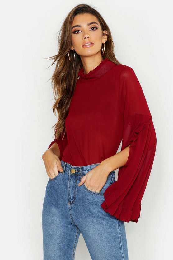 Womens Berry Woven Ruffle Flute Sleeve Blouse