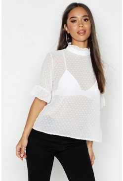 Womens Ivory Woven Dobby Spot Shell Top
