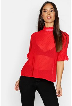 Womens Red Woven Dobby Spot Shell Top