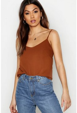 Womens Chocolate Woven Basic Cami
