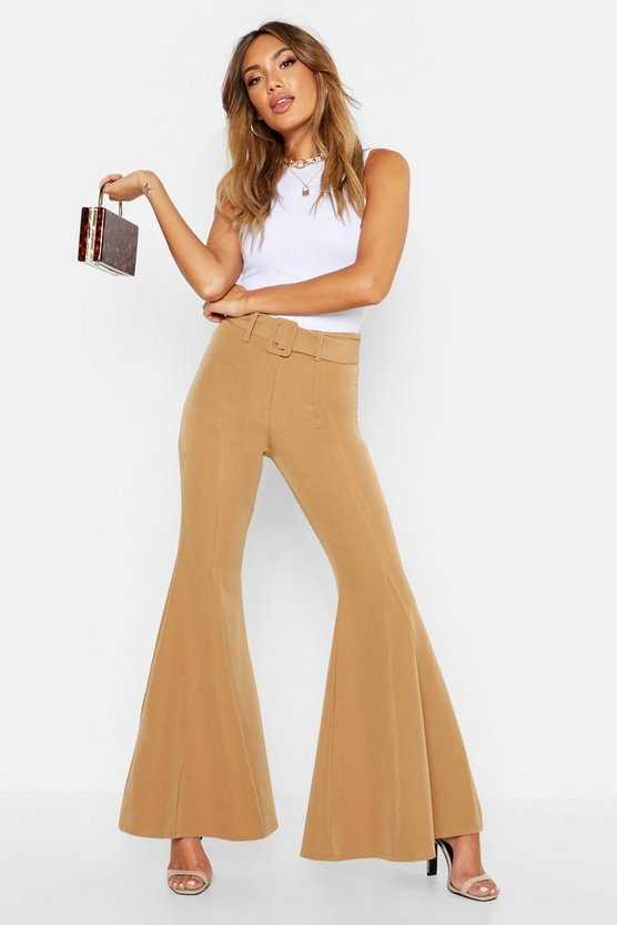 Womens Camel Super Flare Belted Trouser