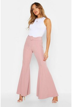 Womens Rose Super Flare Belted Trouser