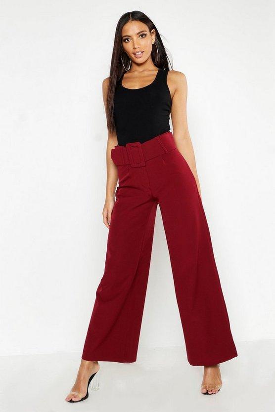 Womens Berry Super High Waisted Belted Wide Leg Pants