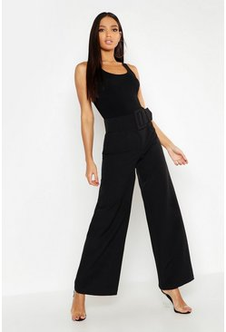 Womens Black Super High Waisted Belted Wide Leg Trouser