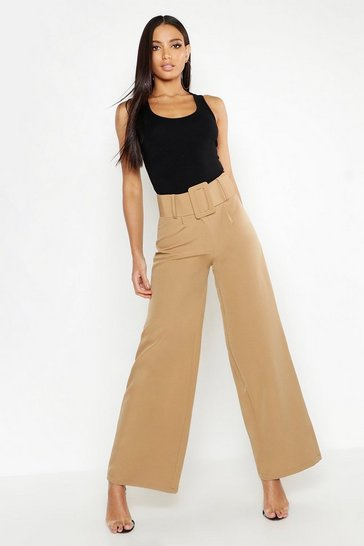 Womens Camel Super High Waisted Belted Wide Leg Trouser