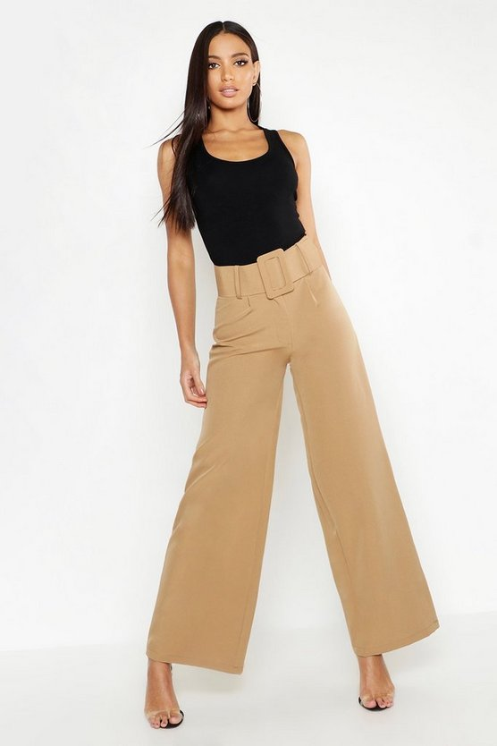 Womens Camel Super High Waisted Belted Wide Leg Pants