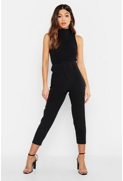 Womens Black Super High Waisted Belted Peg Trouser