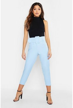 Womens Denim-blue Super High Waisted Belted Peg Pants