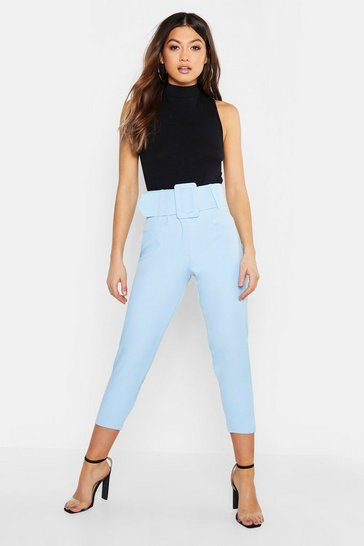 Womens Denim-blue Super High Waisted Belted Peg Trouser