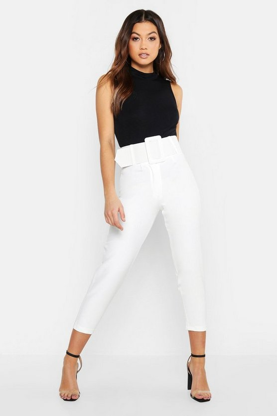 Womens Ecru Super High Waisted Belted Peg Trouser