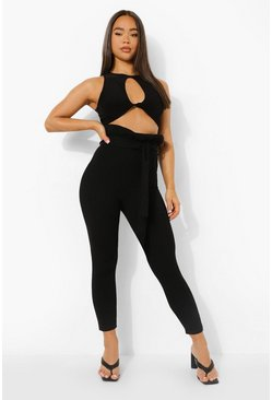 Womens Black Paperbag Tie Waist Skinny Trousers