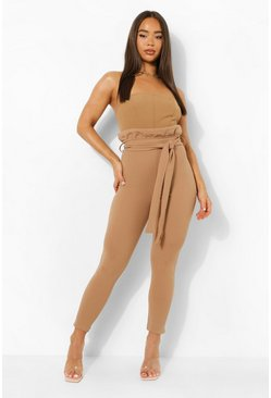 Womens Camel Paperbag Tie Waist Skinny Trousers