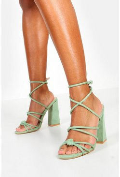 Womens Sage Knot Detail Wrap Ankle Block Heels