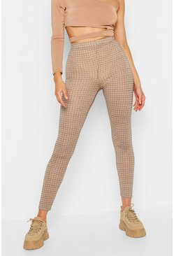 Womens Brown Checked Leggings