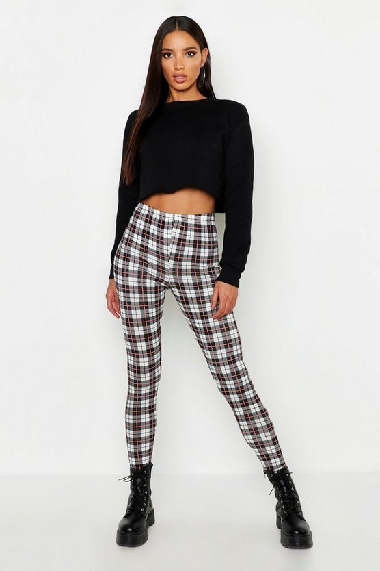 Womens Black Tartan Checked Leggings