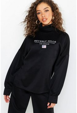 Womens Black Beverly Hills Roll Neck Oversized Slogan Sweat
