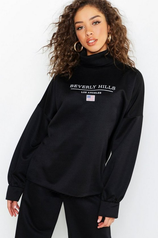 Womens Black Beverly Hills Roll Neck Slogan Sweat