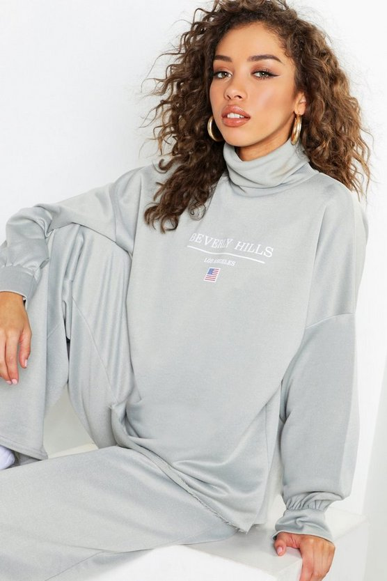 Womens Sage Beverly Hills Roll Neck Slogan Sweat