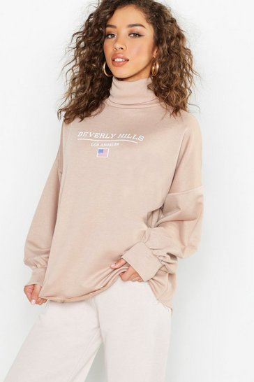 Womens Stone Beverly Hills Roll Neck Oversized Slogan Sweat