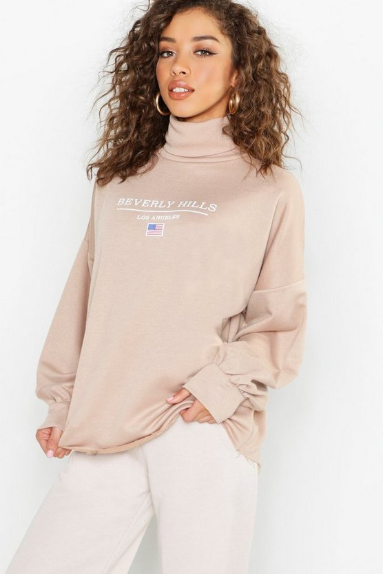 Beverly Hills Roll Neck Slogan Sweat