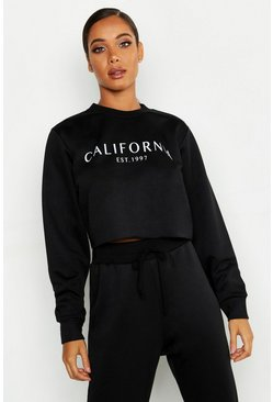 Black California Crew Neck Crop Slogan Sweat