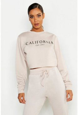 Womens Ecru California Crew Neck Crop Slogan Sweat
