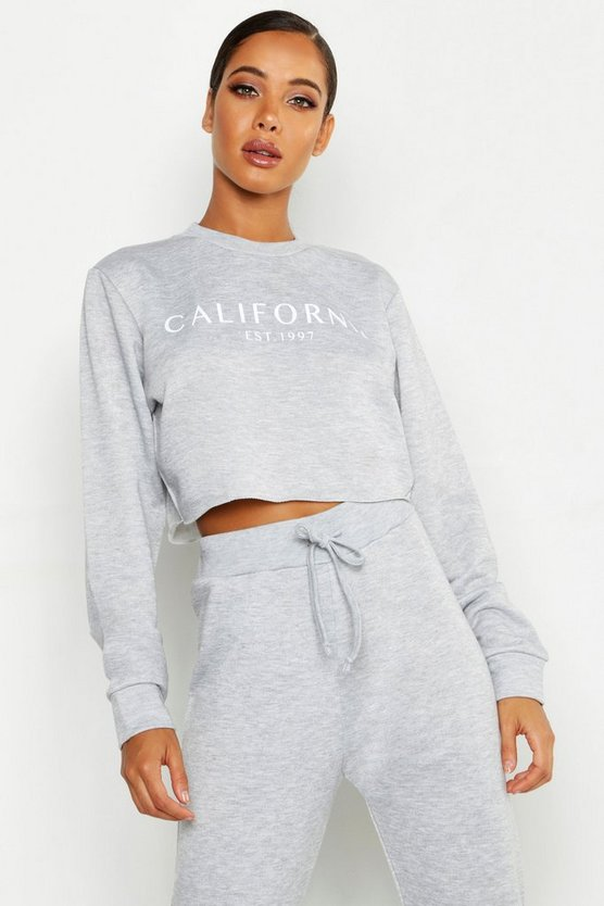 California Crew Neck Crop Slogan Sweat