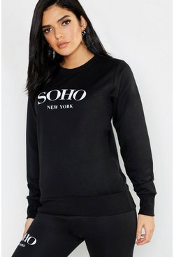 Womens Black Soho Crew Neck Slogan Sweat
