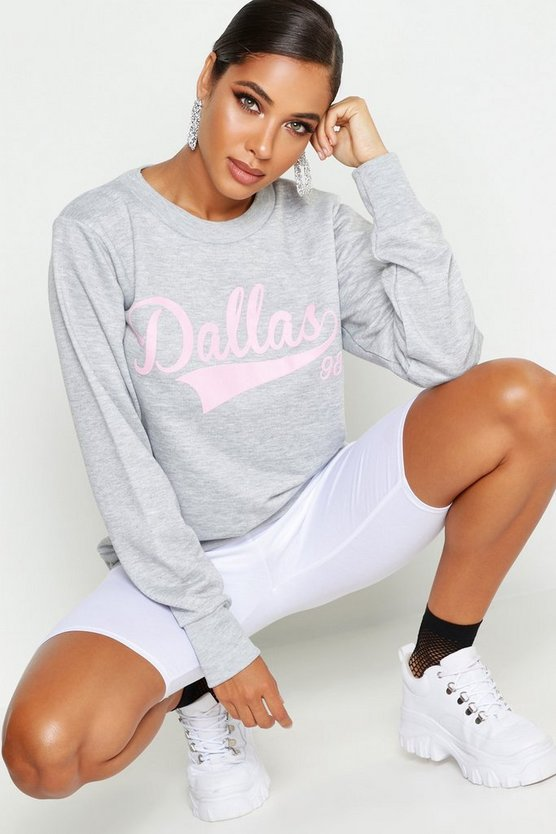 Womens Dallas Crew Neck Slogan Sweat