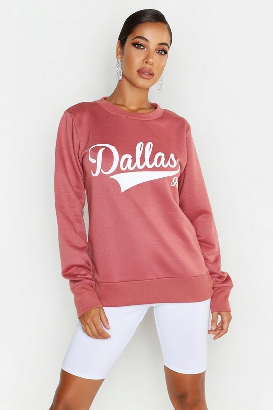 Womens Rose Dallas Crew Neck Slogan Sweat