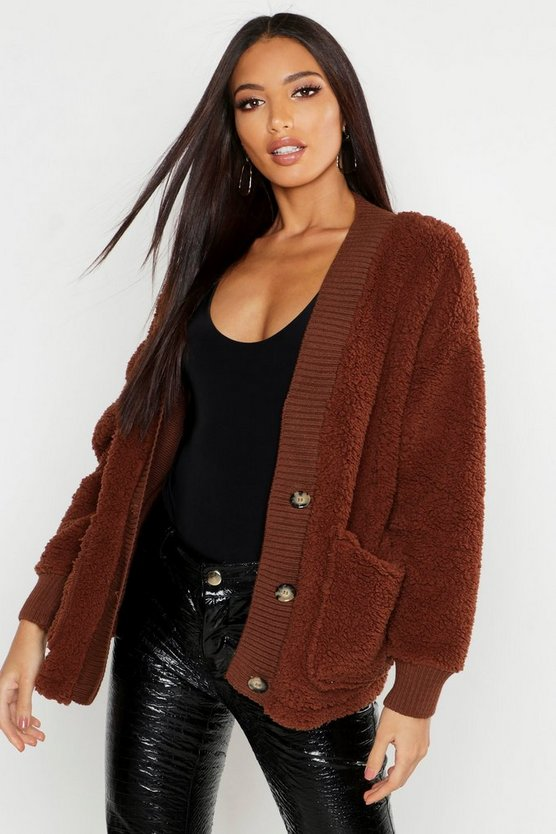 Womens Chocolate Knitted Borg Cardigan With Rib Trim