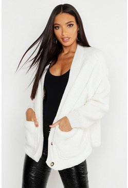 Womens Cream Knitted Borg Cardigan With Rib Trim