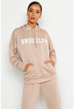 Womens Stone Brooklyn Slogan Hoody