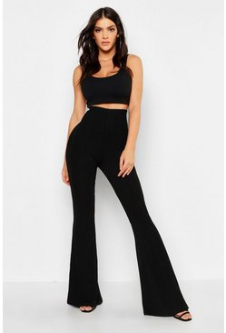 Womens Black Bandage Flared Trousers