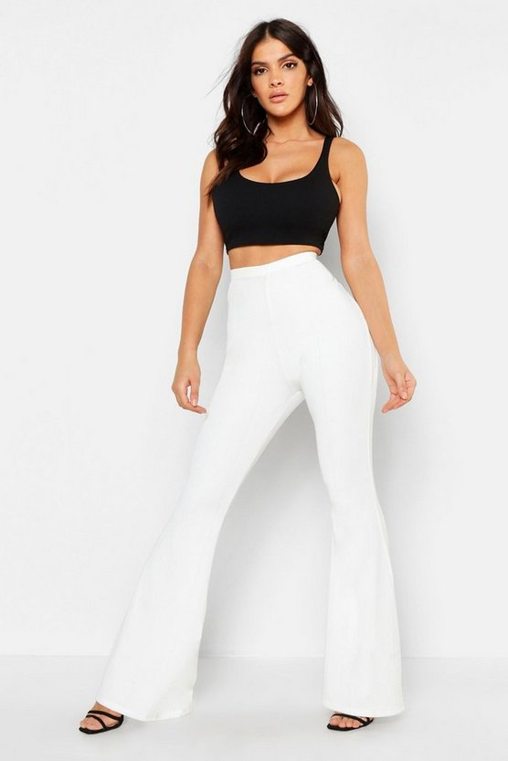 Womens Ivory Bandage Flared Trousers