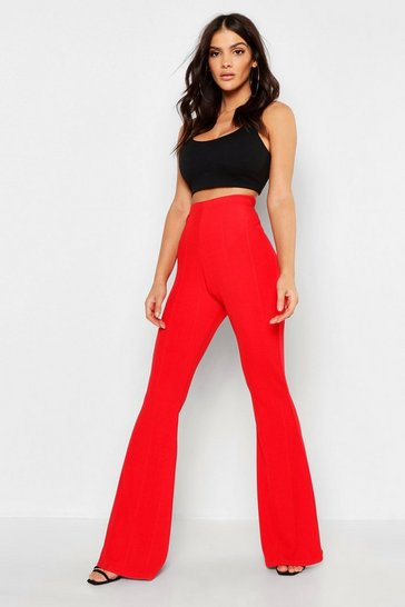 Womens Red Bandage Flared Trousers
