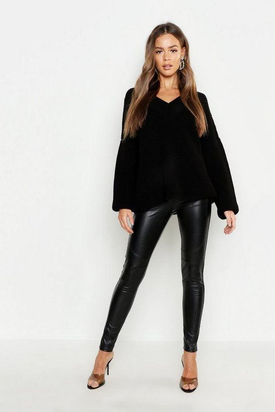 Womens Black V Neck Slouchy Sweater