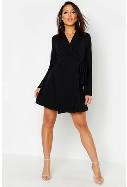 Womens Black Side Tie Blazer Dress