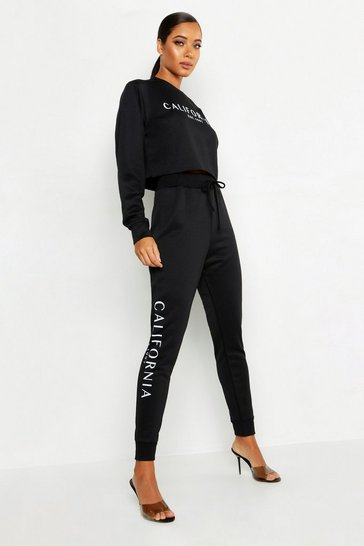 Black California Side Slogan Jogger