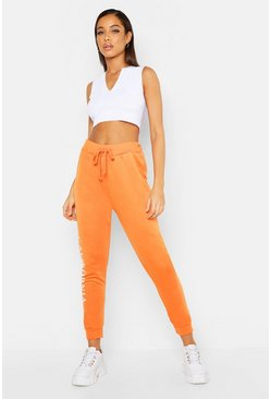 Womens Orange California Side Slogan Jogger