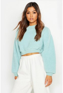 Womens Sage Knitted Borg Crop Jumper With Rib Trim
