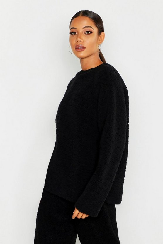 Womens Black Knitted Borg Raglan Sleeve Oversized Jumper