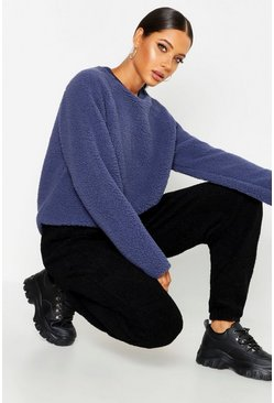 Womens Navy Knitted Borg Raglan Sleeve Oversized Jumper