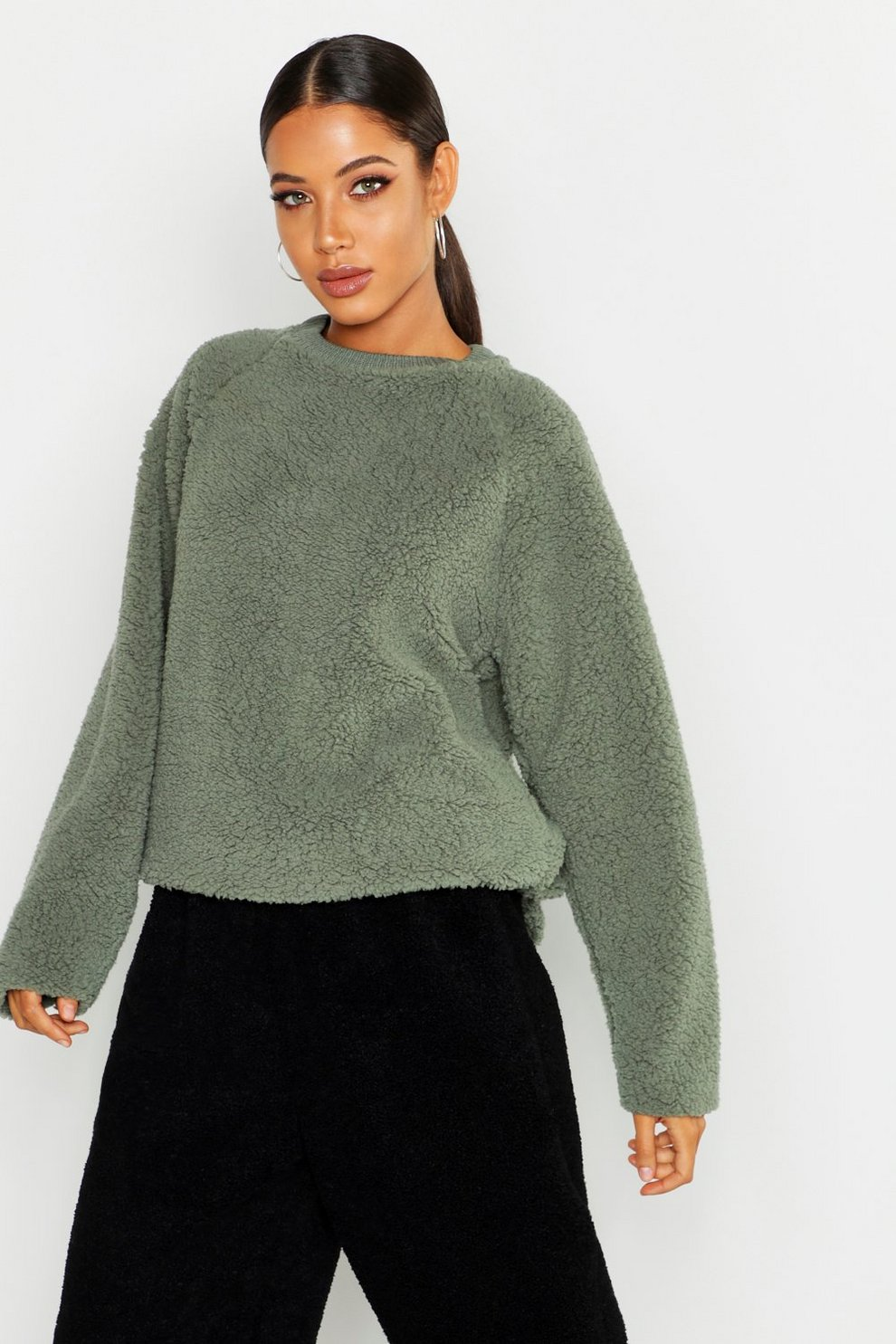 12be4aaedf33ef Womens Sage Knitted Borg Raglan Sleeve Oversized Sweater