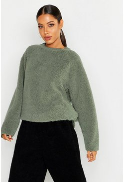 Womens Sage Knitted Borg Raglan Sleeve Oversized Jumper