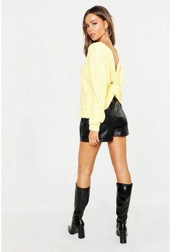 Womens Lemon Crop Twist Sweater